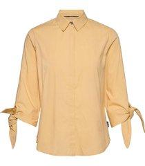 soft poplin 3/4 tie cuff shirt blouse lange mouwen geel calvin klein