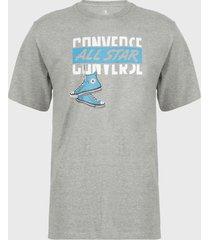 polera converse leave em hanging dangling chucks graphic t-shirt gris - calce regular
