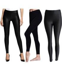 combox3 leggings algodon, tipo cuero, lycra - negro
