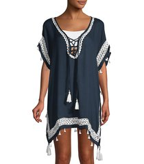 surf gypsy women's lace-up poncho coverup - navy white - size m