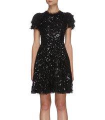 'shirley ribbon' tier sleeve sequin embellished mini dress