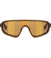 fendi eyewear botanical shield sunglasses - brown