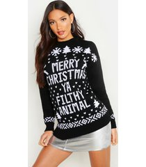 filthy animal kersttrui, zwart