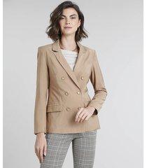 blazer feminino transpassado com bolsos bege