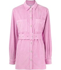 msgm belted-waist corduroy shirt jacket - pink