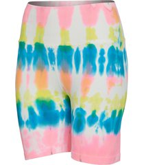 spiritual gangster women's biker yoga shorts - highlighter tie dye x-small/small spandex