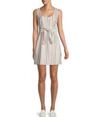 bb dakota women's striped cotton & linen-blend mini dress - ivory multi - size s