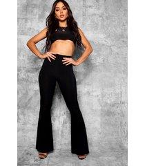 basic nauwsluitend skinny broek met hoge taille en uitlopende pijpen, zwart