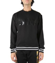 versace jeans couture black cotton sweatshirt with baroque print on the back panel