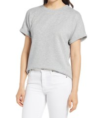 women's caslon dolman sleeve french terry t-shirt, size small - grey