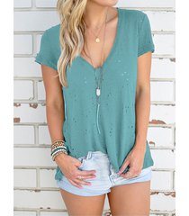 v-neck hollow out short sleeves t-shirts in green