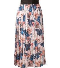 romance was born peek-a-bow knife pleated skirt - multicolour