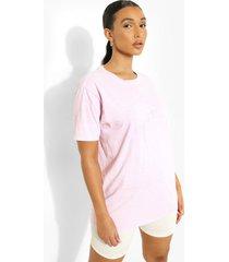 geborduurd overdye katoenen miami t-shirt, pale pink