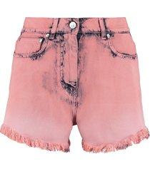 msgm high-rise cut-off denim shorts