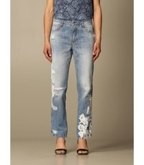 ermanno scervino jeans ermanno scervino jeans in denim with lace inserts