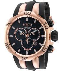 reloj invicta 10830 oro rosa, negro acero inoxidable, silicona