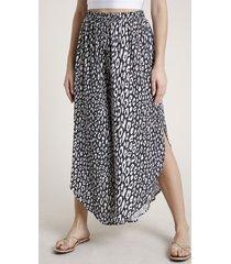 calça feminina pantacourt triya estampada animal print onça com fendas preta