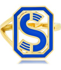 colette 18kt yellow gold gatsby s initial blue enamel ring - silver