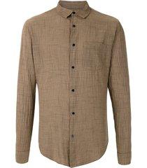 osklen rough thin shirt - brown