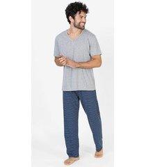 conjunto pijama masculino calça mescla - feminino