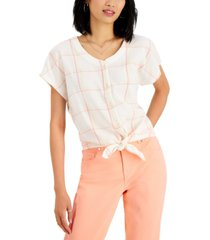 style & co petite printed tie-hem shirt, created for macy's