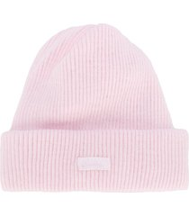 absorba logo-patch ribbed beanie hat - pink