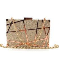 bolsa clutch liage brilho fosca alã§a removãvel dourada rosada/ rosãª/ bronze - dourado - feminino - dafiti