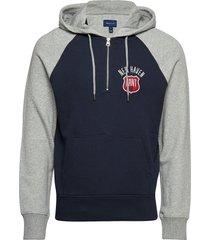 d1. graphic half zip hoodie sweat-shirts & hoodies hoodies blauw gant