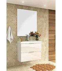 conjunto para banheiro pietra branco/ branco brilho bosi - branco - dafiti