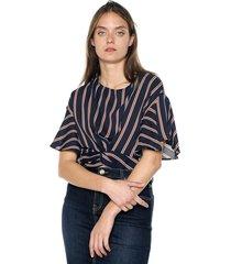 blusa azul-blanco-naranja active