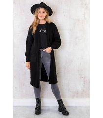 lang gehaakt pocket vest zwart