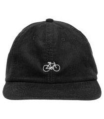 boné bordado bike veludo - preto
