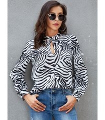 yoins white hollow diseño zebra blusa con estampado