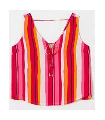 blusa regata em chiffon estampa listras com amarração | a-collection | rosa | gg