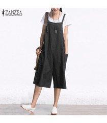 zanzea mamelucos para mujer mono verano otoño mangas de la manera pierna ancha pantalones de mezclilla pantorrilla el traje de la vendimia s-5xl -negro