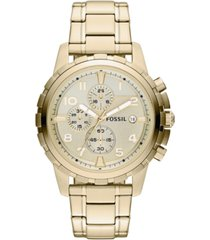 fossil men's chronograph dean gold-tone stainless steel bracelet watch 45mm
