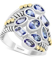 effy tanzanite bezel cluster statement ring (2-1/3 ct. t.w.) in sterling silver & 18k gold