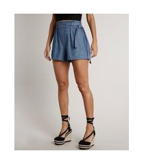 short jeans feminino clochard com faixa de amarrar azul médio
