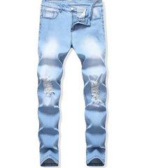destroyed design light wash casual jeans
