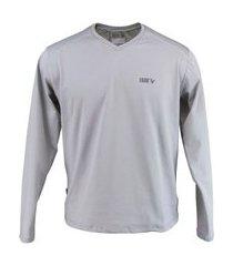 blusa térmica masculina segunda pele gola v thermo premium original regular fit - cor cinza