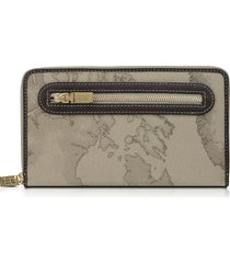 alviero martini 1a classe designer wallets, geo print zip around wallet