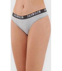 calcinha calvin klein underwear biquãni logo cinza - cinza - feminino - algodã£o - dafiti