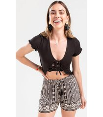 katelyn ribbed open front tie top - black