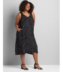 lane bryant women's knit kit tie-strap sharkbite swing dress 34/36 black/chevron