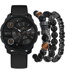 american exchange men's black rubber strap watch 46mm gift set