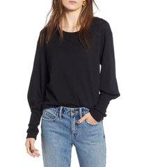 women's treasure & bond blouson sleeve tee, size xx-small - black