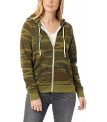 alternative apparel adrian printed eco-fleece women's zip hoodie