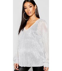 maternity shimmer plisse plunge swing top, silver