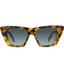 celine 51mm cat eye sunglasses in colored havana/gradient smoke at nordstrom