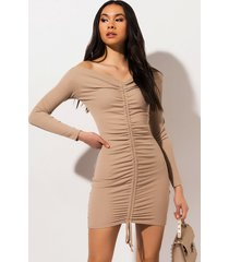 akira weekend rules ruched mini dress